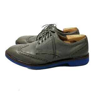 Cole Haan Grand OS Gray Leather Wingtip Oxford Shoes Size 9.5 M leather Shoes .