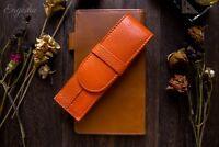 Wancher Japan Quality Orange Genuine Leather Fountain Pen Case 2 Pens Pouch
