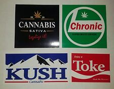 4 POT WEED MARIJUANA DOPE HIGH CANNABIS THC 420 VINYL DECALS STICKER