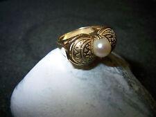 Perlen-Ring-585er-Gelb-Gold-Granulation-1920-1950
