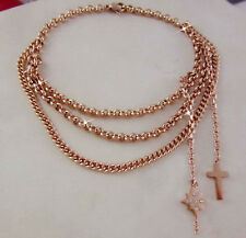 18ct Rose Gold GF North Star Cross Charms Tassel Triple Link Solid Bracelet
