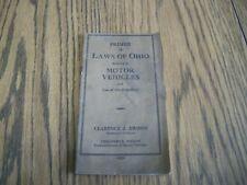 original vintage 1929 LAWS OF OHIO MOTOR VEHICLE handbook manual