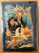 Ancienne Boîte Russe Laquée Signée No 1. Vintage Russian Gloss Painting Box.