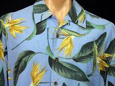Jamaica Jaxx Blue Hawaiian Camp Shirt Bird of Paradise 100% Silk Mens XL EUC