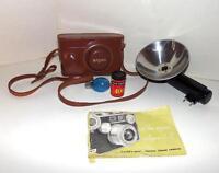 Vintage Argus C-3 35mm Rangefinder Camera w/Leather Case, Flash, Manuel, Film