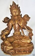 "Large Green Tara Statue 8"" T Gold Resin Tibetan Buddha Goddess FairTrade Nepal"