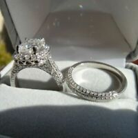 Engagement Ring wedding Set Certified 3.55Ct Cushion Diamond 14k White Gold Over