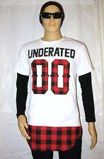 Hip-Hop Street Wear White/Red Checked Pattern Short Sleeve T-Shirt Men Size S