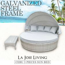 La Joie Living Canopy Outdoor Day Bed Round Sun Lounger Wicker Rattan
