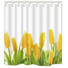 Bathroom Shower Curtain Yellow tulip Flower Waterproof Fabric 71*71 inch & Hooks