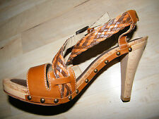 """Isabella Fiore Italy """"DINA"""" Tan Sandals/Heels/Shoes Braided Leather sz 9M NIB"""