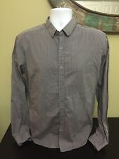 Mens Theory Button Front Checkered Size Large Long Sleeve Shirt Free S&H (5A)