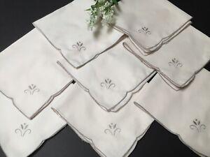 """Vintage 8 Cotton Ecru Serviettes / Napkins With Emb. Motif & Edging 15.5"""" Square"""