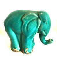 Elephant Vintage Ceramic Figurine Teal Blue Green Crazed Finish 5.25 inches