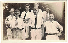 Snapshot of Group of Seven Boys with Ties on, 1930s era. - Name on back.