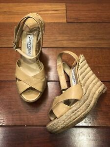 Jimmy Choo Nude Patent Leather Platform Wedges Size 38