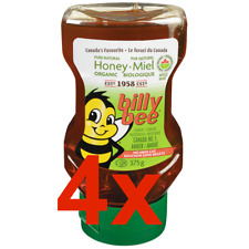 4x Bottles of BILLY BEE - CANADIAN #1 Organic Liquid Amber 375gx4=1500g f CANADA