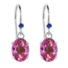 1.92 Ct Oval Pink Mystic Topaz Blue Simulated Sapphire 925 Silver Earrings