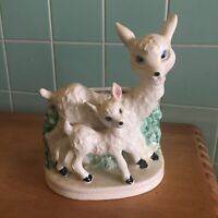 Vtg Sheep lamb planter standing front bush fence white mom baby blue eyes green