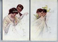 VENZOLLA Lotto 2 cartoline Amanti Donnine Liberty Glamour Lovers PC Circa 1910