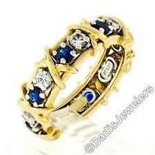 Tiffany & Co. Schlumberger 18k Gold Platinum Sapphire & Diamond Eternity X Ring