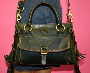 DOONEY & BOURKE Green FLORENTINE POCKET Leather Satchel Shoulder Hand Bag