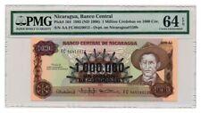 NICARAGUA banknote 1.000.000 ON 1000 CORDOBAS 1985. PMG MS-64 EPQ