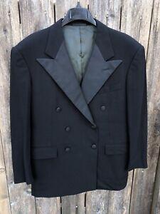 Ralph Lauren Purple Label 100% Wool Double Breasted Tuxedo Blazer Black Sz 44R
