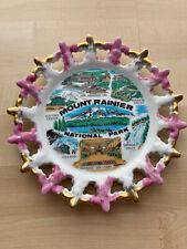 Vintage Mount Ranier National Park Souvenir Plate Purple & Gold Collector 8 1/2�