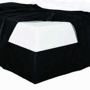 "Full Size Silk Damask Stripe Elegant Bed Skirt with 14"" Drop 100% Microfiber"