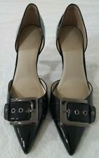 Nine West Black Patent Pointed Pumps with Silver Buckle Size 9M