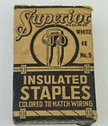 Antique Superior Insulated Wiring Staples White No.5  Box & Staples