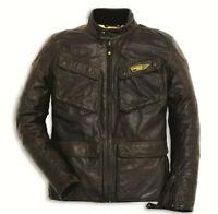 DUCATI Dainese SCRAMBLER Quattrotasche Lederjacke Jacke Leather Jacket braun NEU