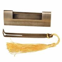 Brass Chinese Padlock Lock Key 8.5x3cm Auspicious Fish Pattern for Jewelry Box
