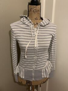 SATURDAY/SUNDAY Anthropologie Striped Full Zip Sweater Jacket Top Size XS