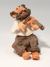 Klezmer Violin Player Figurine Musician Pottery Art Jewish weddings music simcha
