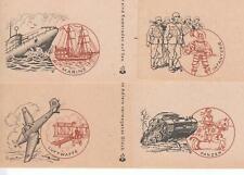 Feldpost: 4 verschiedene illustrierte Postkarten Marine/Luftwaffe/Panzer/Infant.
