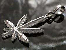 Diamond Cut Marijuana Leaf Pot Plant Pendant In Solid Sterling Silver - 4 Grams