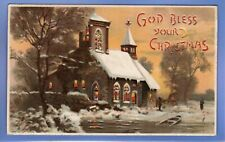OLD VINTAGE 1907 POSTCARD HOLD TO LIGHT CHURCH SNOW SCENE CHRISTMAS XMAS NOEL