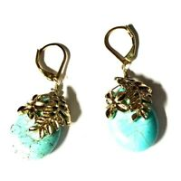 silvertone Dangle Stacked Beads Teal leverback Amazonite earrings
