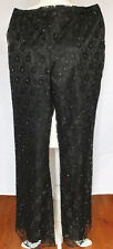 Casual Corner Womens Sz 6 Black Beaded Lace Sequin Slacks Pants