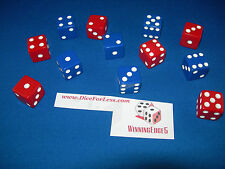 NEW 50 ASSORTED DICE 16MM BLACK BLUE RED GREEN IVORY 5 COLORS 10 OF EACH COLOR
