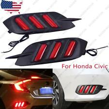 2x Red LED Rear Bumper Reflector Brake Tail Lights Lamps for Honda Civic 2016+