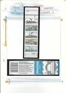 US 1989 2409a $5 BOOKLET BK166 - BC49 25c 2 PANES 0f 10 STEAMBOATS STAMPS MNH