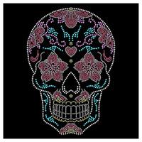 Sugar Skull Floral Dia De Los Muertos Flower Rhinestone Hotfix Iron On Transfer