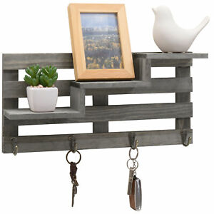 Vintage Gray Wood Wall-Mounted 3-Tiered Stair Display Shelf with 4 Key Hooks