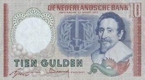 Netherlands 10 Gulden 1953 Number 055505 Binary Fancy Banknote serial Very Good