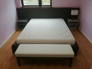 King Size Italian Design Bed & Wooden Slats Base+Bed Side Tables - Luxury