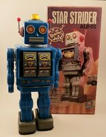 Horikawa Toy Star Strider AIJI-01 Robot Tin Toy Battery Operated - BLUE w/ Box