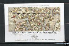 Iceland MNH Souvenir Sheet #715 Nordia 1991 Map Stamps